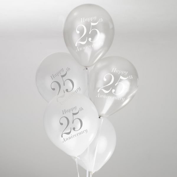 Vintage Romance White & Silver 25th Anniversary Balloons (8)